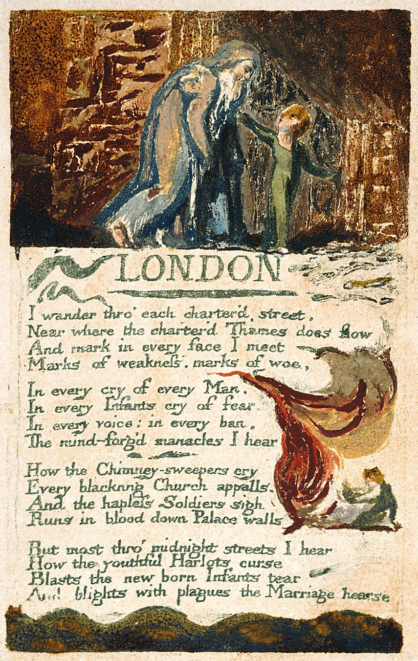 a reading of william blakes london William blake was born near london in the late 1700's, which means that he lived in the 1800's when the ideals of society were restrictive and often overwhelming he did not conform to these patterns, but rather found himself among other radical thinkers.